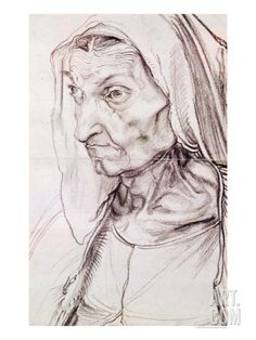 Albrecht Durer Portrait of the Artist's Mother, , Staatliche Museen, Berlin. Read more about the symbolism and interpretation of Portrait of the Artist's Mother by Albrecht Durer. Albrecht Durer, Drawing Sketches, Art Drawings, Crayon Drawings, Renaissance Kunst, Pierre Auguste Renoir, Auguste Rodin, Old Master, Great Artists