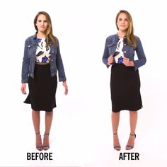 Turn an oversized denim jacket into a cute, cropped one with this easy tutorial!