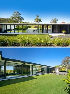 garten haus Inspired by the simplicity and sophistication of mid-century modern architecture, this Australian home is a single level design and is spacious in its layout. Modern Architecture Design, Residential Architecture, Modern House Design, Roman Architecture, Minimalist Architecture, Landscape Architecture, Landscape Design, Glass House Design, Australian Architecture