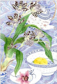 Orchids and lemon still life  Watercolour and pencil on paper  39cm x 57cm Sydney 2011    This one was selected to hang as part of the Hornsby Art Prize competition Nov 2011