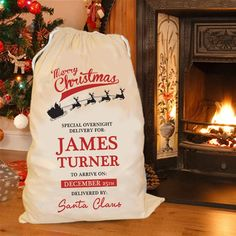 Make Christmas more personal with a personalised printed Special Delivery Christmas sack, featuring Santas Sleigh, personalised special delivery