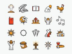 Easter line icons