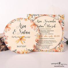 Drewniane zaproszenie ślubne pomarańczowe kwiaty (Kod: DZ087) Zaproszenia drewniane Zaproszenia ślubne -Venarti - Sklep ślubny Słupsk Place Cards, Place Card Holders, Wedding Ideas, Wedding Ceremony Ideas