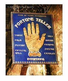 Fortune Teller Sign Photograph / Palm Reader Sign / New Orleans French Quarter / 8x10 photo / Mardi Gras / dark blue and gold