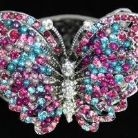 Turquoise and Pink Crystal and Bead Butterfly Cuff Bracelet. $24.99
