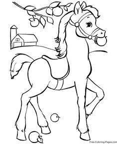 coloring book pictures of horses 023 - Printable Animals Coloring Pages