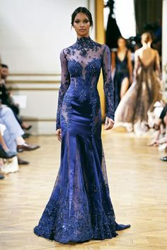 ZAHAIR MURAD - HAUTE COUTURE 2013/2014 High neckline dress in midnight blue satin embroidered with hemstitched lace
