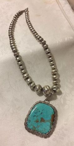 VTG Navajo Turquoise Sterling Silver Necklace Signed w/ Old Pawn Beads