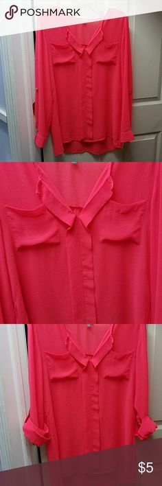 Hot Pink Flowy Blouse Super cute flowy hot pink charlotte russe blouse is perfect for a girls night out or date night. Wear with skinny jeans and booties and pair with some gold bracelets! Charlotte Russe Tops Blouses