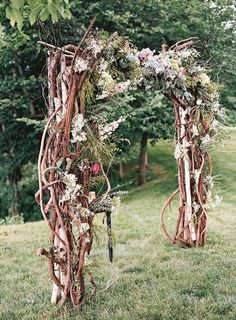 a boho woodland wedding arch of interwoven branches, moss, foliage, blooms and antlers for a summer or fall wedding Wedding Arch Rustic, Wedding Altars, Wedding Arches, Forest Wedding, Woodland Wedding, Ceremony Arch, Wedding Ceremony, Trendy Wedding, Floral Wedding