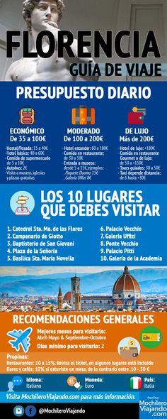 Guía de viaje a Florencia en #infografía. #florencia #italia #europa #viaje #europa