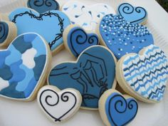 Frosted Picasso valentine heart cookies