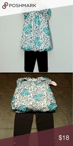 SALE 🔴GIRLS 🐙 Bubble Tunic & Leggings Set sz 4T Leopard turquoise print bubble top with black leggings.  Lightweight and so comfy cute! Poly/cotton blend.  Tunic has silky texture.  Sz 4T fits 33 to 38 lbs. Matching Sets