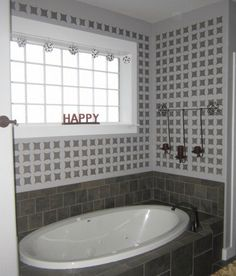 We'd soak in the tub all day if this was our Kobe Stenciled master bathroom, how about YOU?    Get the look that Girl In Air has us gushing over here... http://www.cuttingedgestencils.com/allover-stencil-kobe.html