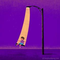 Swinging under the street light