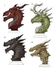 Dragon Busts by sandara on DeviantArt Alien Concept Art, Creature Concept Art, Creature Design, Mythical Creatures Art, Fantasy Creatures, Shadow Wolf, Eyes Artwork, Monster Drawing, Cool Dragons