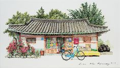 (Korea) A disappearing mini store in a rural by Lee Me Kyeoung ). ink on paper with a pen use the acrylic. Building Painting, Building Drawing, Building Sketch, Colorful Drawings, Cute Drawings, Watercolor Architecture, House Drawing, Korean Art, Urban Sketching