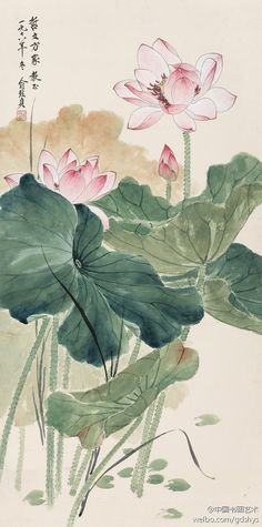 俞致贞 1978年作《工笔荷花》--- 俞致贞师从著名国画大师于非闇,后又拜张大千为师。作品注重从用线人手,以线造型,以线表现形象、,质感。强调骨力、气质、神韵。