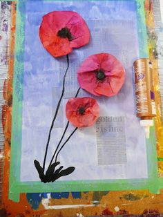 Every year I come up with a new Poppy project for Remembrance Day. This is the 2012 version. The poppies can be made in three ways, usin. Remembrance Day Activities, Remembrance Day Poppy, Ww1 Art, Kindergarten Art Lessons, 3rd Grade Art, Grade 2, Anzac Day, Collage, Autumn Art