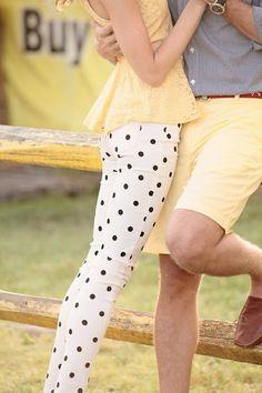 polka dot pants and peplum top. Perfect.