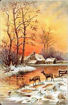 How A Flaming Orange Sunset Leaves Its Glow On The Freshly Fallen Snow ~ Vintage Painting Of A Snowy WinterLand.