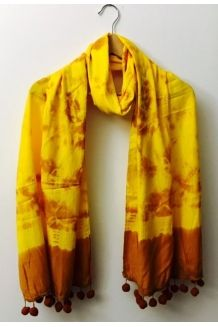 Tie 'n' Dye Yellow - Tie 'n' Dye Hand printed gorgeous yellow scarf with a dash of  fall colors. Be one with nature and feel the sunshine, color and gentle breeze!   Material: Soft Cotton Color: Yellow with brown Dimensions: Instructions: Preferably hand wash otherwise gentle, cold cycle.