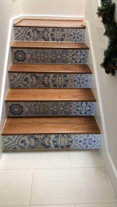Tile is Skyros Decorative Blanco Porcelain. Stair Decor, Entryway Decor, Diy Bedroom Decor, Diy Home Decor, Tiled Staircase, Tile Stairs, Staircase Makeover, Fireplace Remodel, Diy Bathroom Remodel