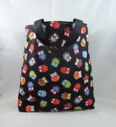 Owls on Black Fabric Tote Bag - Free UK P&P £10.00