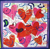 tissue paper hearts, stamping with toilet paper rolls..things they love in the white space..what an idea! super!!