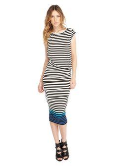 Digital Stripe Tie Dye Boarder Midi Dress, Nicole Miller, $345,
