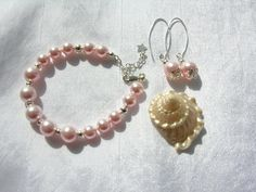 Wedding Pearls Rose Pink Pearl Bracelet and Earring Set great for wedding or prom! by Sparklesbythesea on Etsy