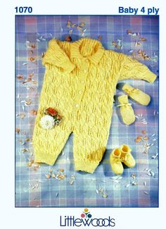 Baby All-in-one suit Bootees and Mittens in 4 ply for 18  22