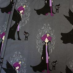 Baumwollstoff bedruckt Gothic Princess Farbe Grau