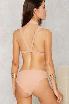Nasty Gal Rippled Waters High-Waisted Bikini Bottom - Beige - Clothes | Bikinis | Swimwear