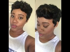 """Short for the Winter: Sensationnel Easy 27 """"Champagne"""" Wig Review - YouTube Short Weave, Quick Weave, Bump Hairstyles, Weave Hairstyles, Pixie Cut Wig, Short Wigs, Short Styles, 100 Human Hair, Short Hair Cuts"""