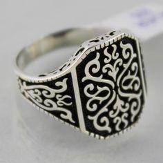 Turkish Handmade 925 Sterling Silver Special Ottoman Design Men's Fine Ring #Handmade #Statement