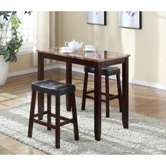 Features:  -Contemporary marble tabletop with espresso finish legs.  -Dark Espresso Blended-Leather Chair with espresso finish solid wood frame.  -Constructed from solid hardwoods.  -Photo may slightl