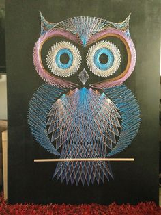 1001 ideas for thread pictures to imitate - an owl in three colors string art picture that looks very creepy big eyes of the owl - String Art Diy, String Crafts, Resin Crafts, String Art Templates, String Art Patterns, Owl Crafts, Diy Arts And Crafts, Broderie Bargello, Arte Linear