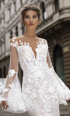 Tarik Ediz - 50407 Floral Lace Long Bell Sleeve Mermaid Dress In White Dresses Elegant, Elegant Wedding Gowns, Wedding Dresses 2018, Country Wedding Dresses, Modest Wedding, Prom Dresses, Wedding Designs, Wedding Styles, Dress Vestidos