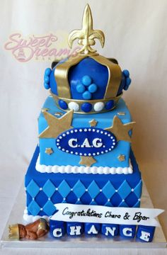 King Themed Baby Shower Cake. Square, Blue And Gold. From Sweet Dreams  Bakery