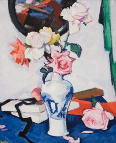 Still Life with Roses and Mirror  by Samuel John Peploe The subject Matter is the vase of roses in the middle of the painting it was made with paint and paint brushes to create a loving mood with the colour of the roses