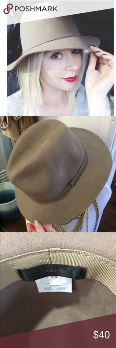 "J. Crew Wool Felt Fedora Beautiful taupe hat from J. Crew. Very comfortable and goes with EVERYTHING. In gently used, great condition. You will love this hat! (Cheaper on Instagram @shoptalscloset) 100% Wool. Size S/M. Inner circumference of approx 19"" J. Crew Accessories Hats"