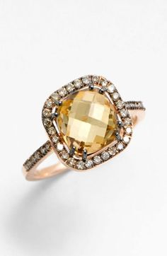 Suzanne Kalan Cushion Stone Diamond Bezel Ring