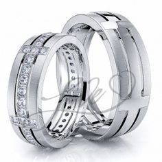 0.68 Carat Designer Cross 6mm His and Hers Diamond Wedding Ring Set