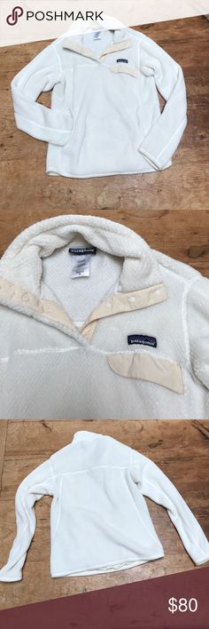 Patagonia cream colored half button up sweatshirt cream colored fuzzy button up sweat shirt size medium! super cute, warm and cozy Patagonia Sweaters Cowl & Turtlenecks