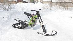 Snowbike kit for the Surron X electric motorcycle from SNOWBIKE LLC. No equivalent in the world. Easy to install on the Surron family of motorcycles. No special skills or tools required. The kit turns the Surron into a lightweight snowmobile. You will be able to use your Surron in winter on snow up to 50 cm deep. Get new emotions from your bike. Bicycle, Snow, Motorcycles, Electric, Deep, Tools, Winter, Easy, Winter Time