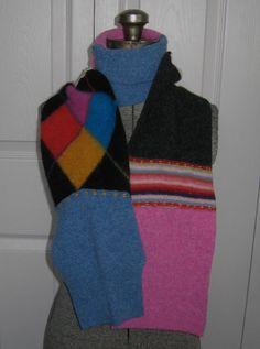 This scarf is created from recycled wool sweaters. The sweaters are boiled (felted), cut apart and then reassembled. Each scarf is unique and entirely made by hand with much attention to detail. This model is created in hues of pink, charcoal and blue *MEASUREMENTS: 62 x 5.5 (157 x