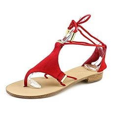 Trina Turk Womens Bayley Dress Sandal Poppy SuedeGold Tubes 65 M US *** Read more  at the image link.