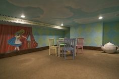 Alice In Wonderland Design Ideas, Pictures, Remodel and Decor ( Hmm, layering painted cardboard for a 3d wall effect)