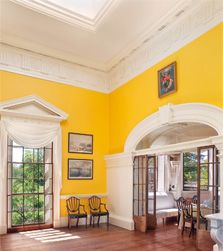 Monticello, Virginia...Jefferson's dining room is INTENSEly yellow! Fabulous house, so different than other colonial 'mansions' I've toured. So modern looking in many ways.